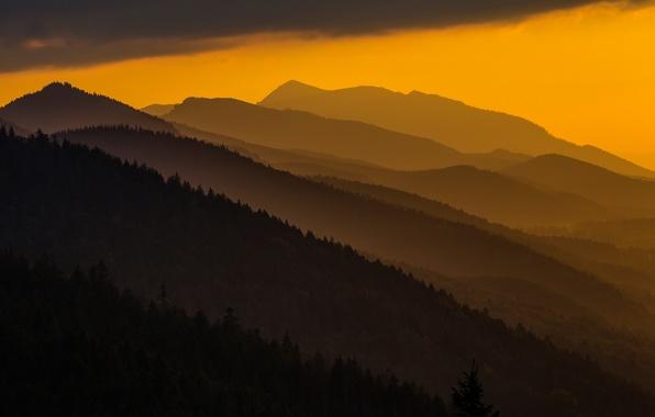 Картинка закат, горы, Польша, Карпаты