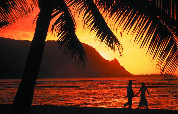 Картинка закат, пальмы, океан, романтика, вечер, двое
