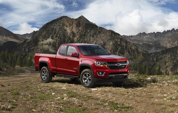Картинка красный, Chevrolet, джип, шевроле, колорадо, пикап, Colorado, Z71, Extended Cab, 2015, Trail Boss