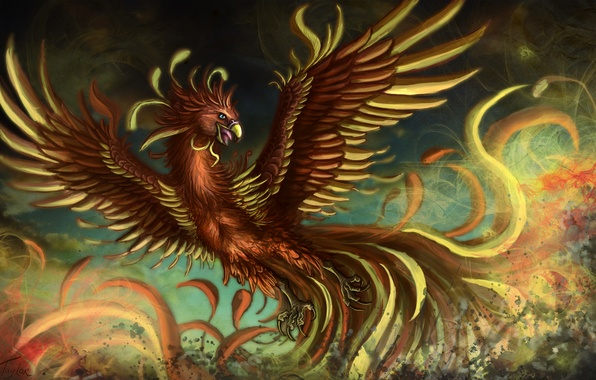Картинка птица, крылья, перья, фэнтези, арт, феникс