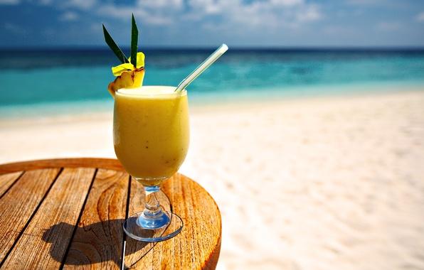 Картинка песок, море, пляж, вода, стакан, океан, коктейль, glass, напиток, beach, sea, ocean, water, sand, drink, …