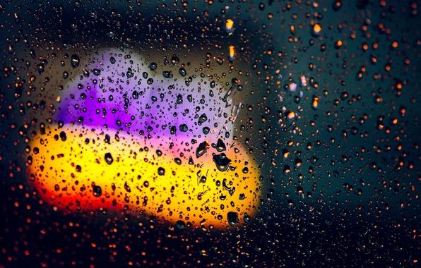 Картинка стекло, вода, капли, макро, огни, фон, дождь, обои, размытие, wallpaper, широкоформатные, background, боке, полноэкранные, HD …