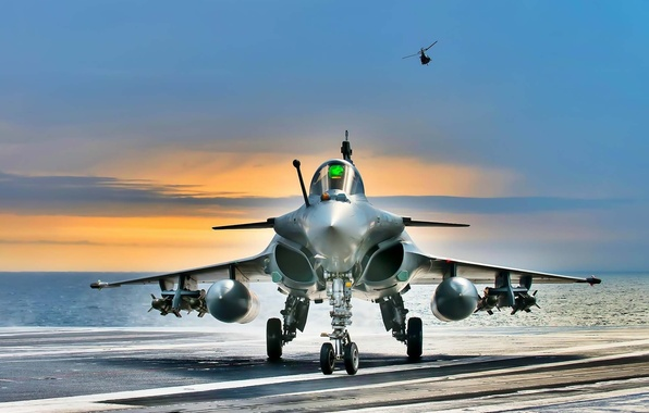 Картинка самолет, рассвет, истребитель, штурмовик, Dassault Rafale, четвертого поколения, ВВС Франции, Rafale, океан авианосец, французский многоцелевой