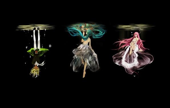 Картинка вода, девушки, черный фон, vocaloid, hatsune miku, megurine luka, kagamine rin