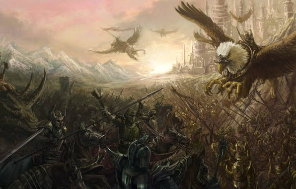 Картинка город, кони, армия, арт, битва, сражение, всадники, грифон