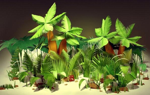 Картинка листья, тропики, бумага, пальмы, джунгли, картон, кусты, бумажные