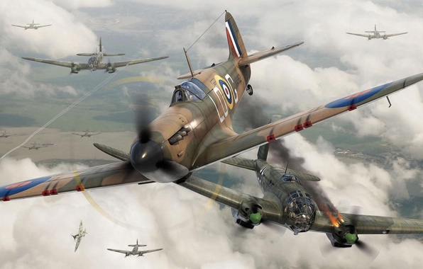 Картинка fighter, war, art, airplane, painting, aviation, ww2, dogfight, Supermarine Spitfire Mk.I