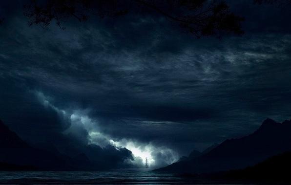 Картинка море, ночь, фантазия, парусник