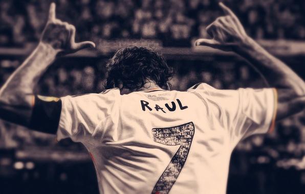 Картинка Спорт, Футбол, Семь, Номер, Реал Мадрид, Real Madrid, Легенда, Рауль, Raul, Игрок