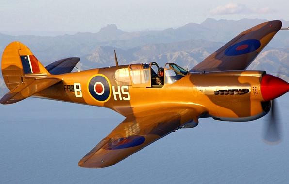 Картинка полет, самолет, ландшафт, истребитель, пилот, P-40 Kittyhawk