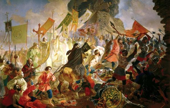 Картинка люди, ситуация, флаги, битва, крепость, живопись, войска, знамёна, Брюллов Карл, Осада Пскова польским королём Стефаном …