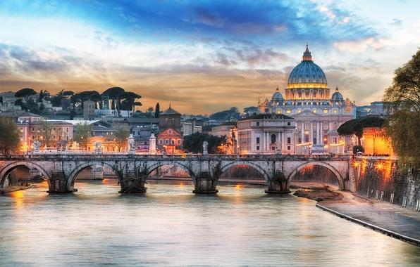 Картинка закат, мост, огни, река, дома, вечер, Рим, фонари, Италия, дворец, Тибр, собор Святого Петра