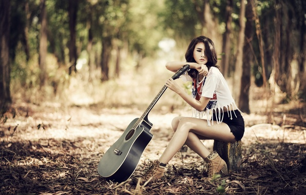 Картинка взгляд, девушка, музыка, гитара, азиатка