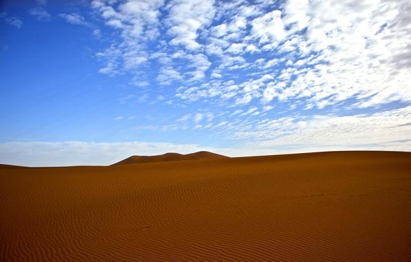 Картинка песок, небо, облака, пустыня, бархан