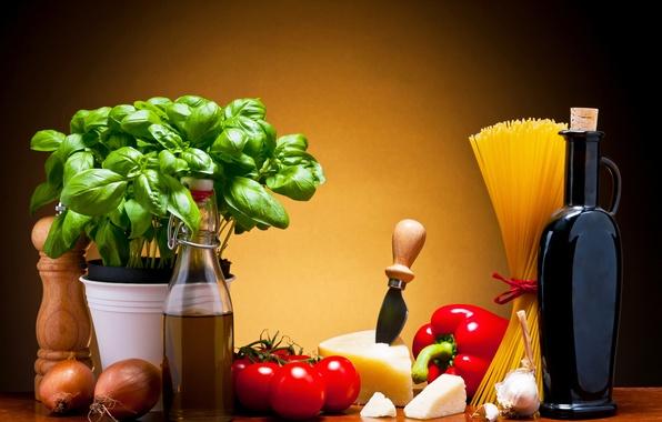 Картинка листья, вино, сыр, перец, кувшин, овощи, помидоры, спагетти, wine, tomatoes, cheese, макароны, pepper, базилик, pasta