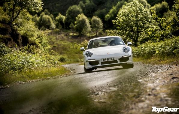 Картинка дорога, белый, трава, деревья, 911, Porsche, Top Gear, суперкар, передок, самая лучшая телепередача, высшая передача, …
