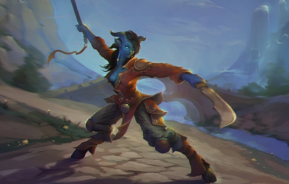 Картинка девушка, горы, мост, рога, WoW, World of Warcraft, клинки, стойка, копыта, Draenei