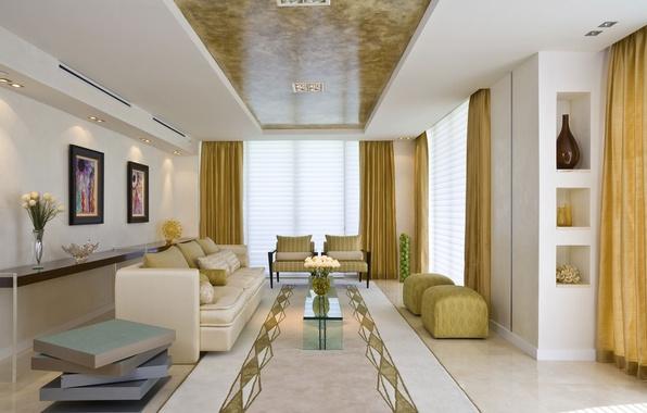 Картинка цветы, дизайн, стиль, комната, диван, мебель, интерьер, растения, кресло, ваза, квартира, коричневый, бежевый
