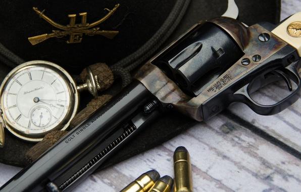 Картинка оружие, часы, шляпа, ствол, патроны, револьвер, Colt, Action Army