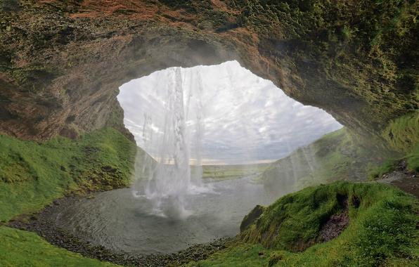 Картинка водопад, пещера, Исландия, Seljalandsfoss