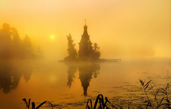 Картинка туман, утро, Россия, Церковь Андрея Первозванного, Вуокса