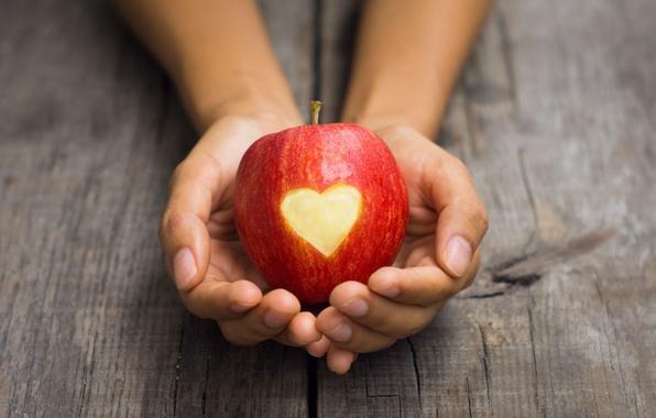 Обои широкоэкранные, сердце, apple, HD wallpapers, обои, красное яблоко, девушка, полноэкранные, background, fullscreen, руки, с