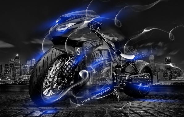 Картинка Ночь, Синий, Город, Дым, Неон, Стиль, Обои, Байк, Мотоцикл, Голубой, City, Мото, Арт, Blue, Фотошоп, …