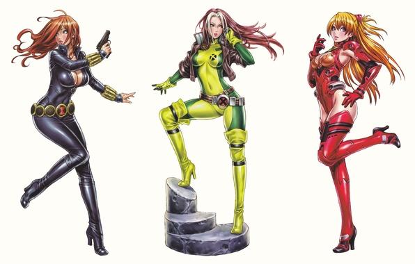 Картинка фантастика, аниме, белый фон, Neon Genesis Evangelion, girls, art, комикс, Rogue, Black Widow, Avengers, Asuka …