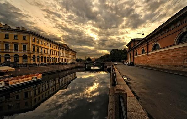 Картинка город, улица, дома, архитектура, мостовая, постройки, Санкт-петербург
