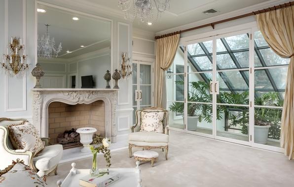 Картинка белый, дизайн, окно, кресла, камин, гостиная, оранжерея