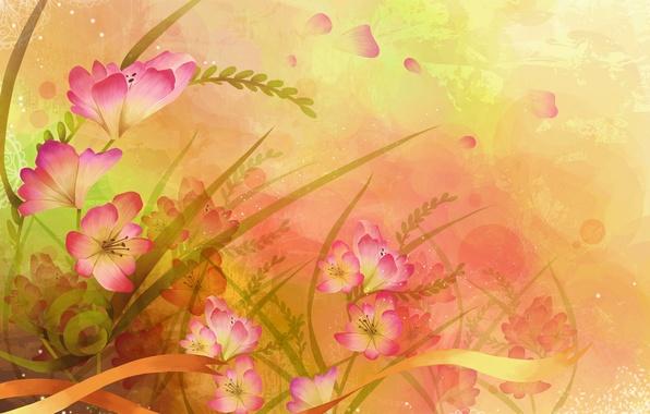 Картинка листья, цветы, краски, вектор, лепестки, лента