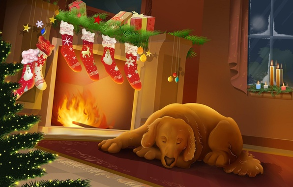 Картинка ночь, тепло, новый год, рождество, собака, камин