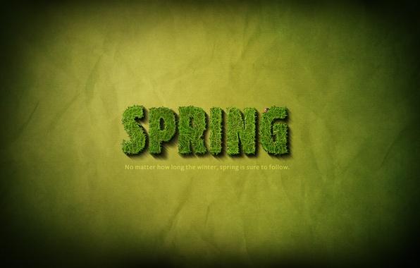 Картинка трава, надпись, весна, grass, слова, фраза, 1920x1200, words, lettering, phrase, SPRING