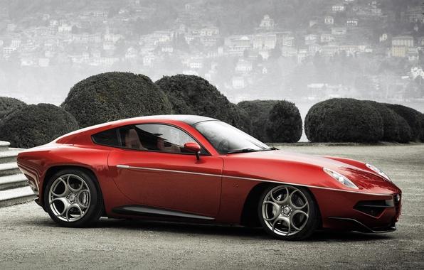 Картинка красный, Alfa Romeo, автомобиль, вид сбоку, красивый, Touring, Disco Volante