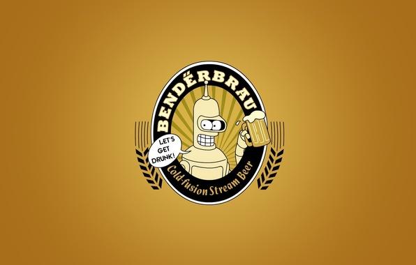Картинка пиво, минимализм, футурама, bendeerbrau, бендер