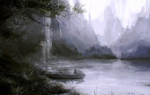 Картинка трава, пейзаж, озеро, дерево, скалы, берег, лодка, водопад, арт