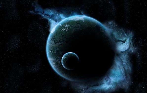 Картинка космос, звезды, свет, тьма, земля, луна, планета, свечение, space, чернота