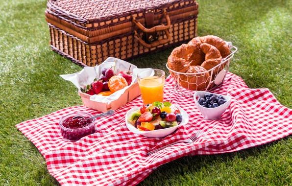 Картинка ягоды, яблоко, завтрак, киви, черника, клубника, бананы, фрукты, корзинка, вишни, варенье, круассаны, мандарин