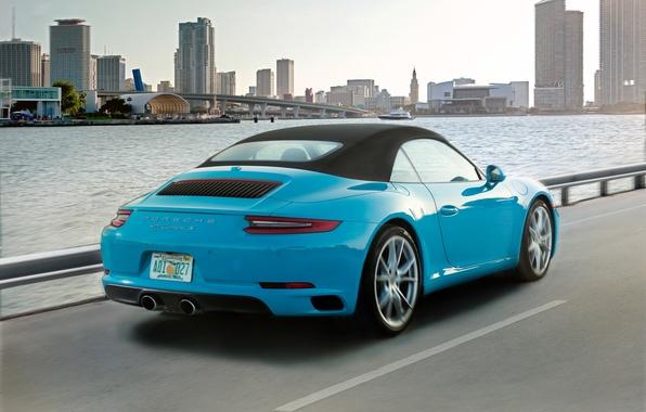 Картинка дорога, car, авто, city, город, 911, Porsche, Cabriolet, Carrera S