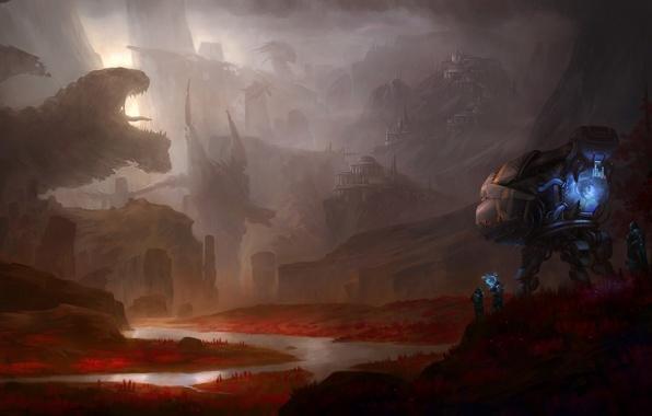 Картинка город, люди, корабль, драконы, арт, руины, Michael Wang