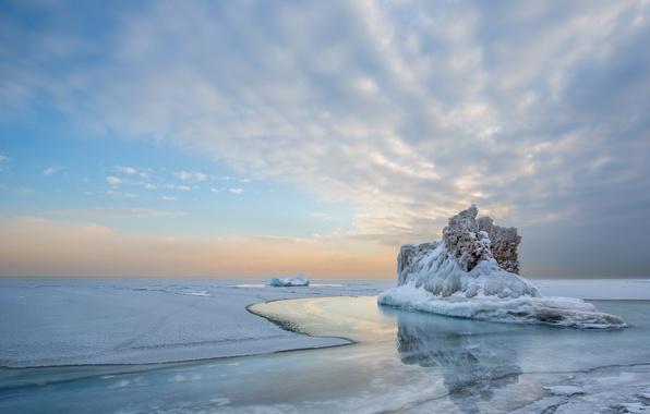 Картинка холод, лед, зима, небо, вода, облака, снег, пейзаж, озеро, отражение, айсберг
