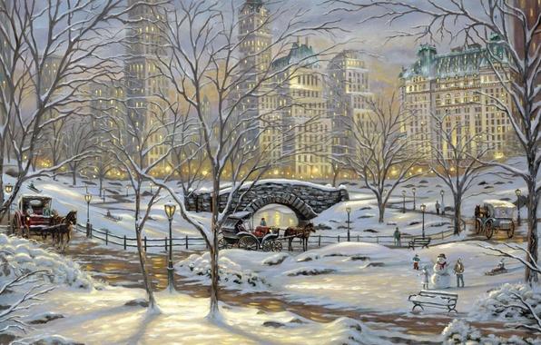Картинка зима, снег, мост, огни, парк, кони, лошади, фонари, снеговик, живопись, Robert Finale, river, скамья, bridge, …