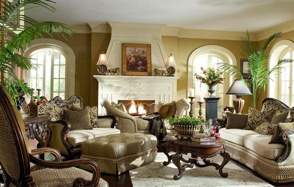 Картинка комната, растения, светлый, картины, камин, классика, диваны, статуэки