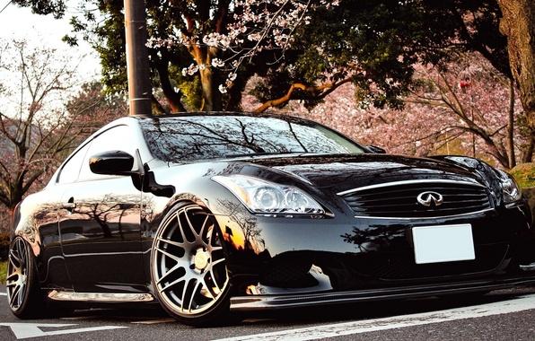 Картинка Япония, Машина, Черная, Desktop, Car, Инфинити, Автомобиль, Beautiful, Black, Coupe, Wallpapers, Tuning, Красивая, Infiniti G37, …