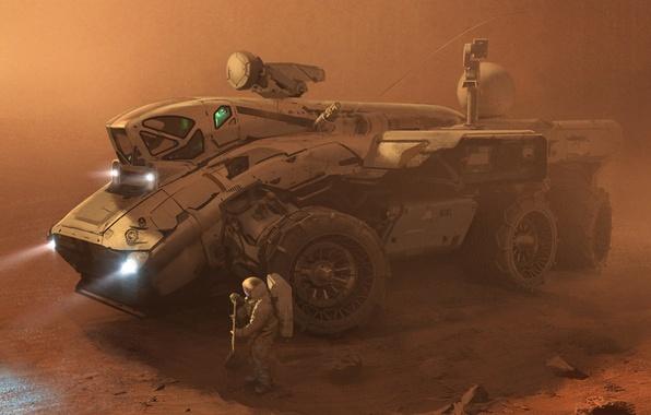 Картинка песок, фантастика, буря, марс, космонавты, астронавты, вездеход, марсоход, экспедиция