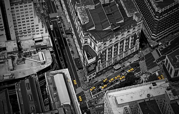 Картинка авто, пейзаж, машины, город, стиль, жёлтый, креатив, люди, улица, вид, окна, дороги, дома, трафик, пробка, …