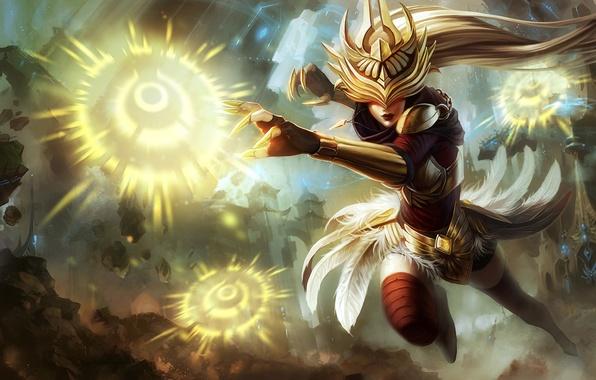 Картинка девушка, город, магия, взрывы, доспехи, перья, League of Legends, LoL, Syndra