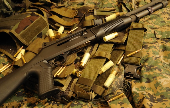 Картинка оружие, ружьё, камуфляж, самозарядное, гладкоствольное, магазинное, Benelli M1014, (M4)