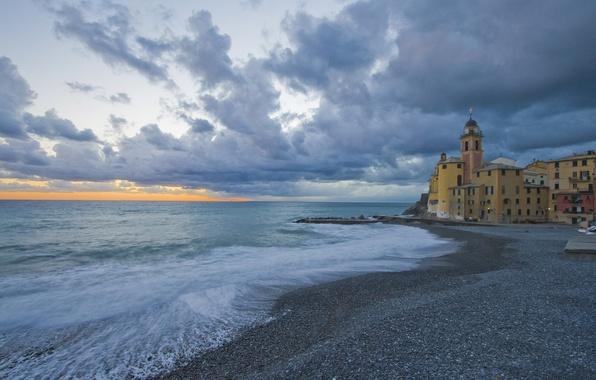 Картинка море, побережье, Италия, церковь, Italy, Camogli, Лигурия, Liguria, Камольи