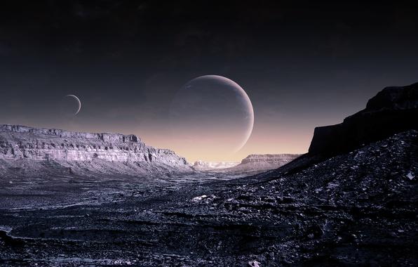 Картинка небо, планеты, art, Blue Moon, qaz, WP Version